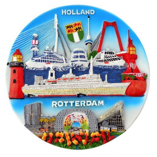 WALL PLATE ROTTERDAM SOUVENIRS 3D COLOR