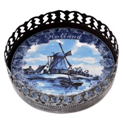WINE COASTER HOLLAND DELFT BLUE WINDMILL BOAT TIN