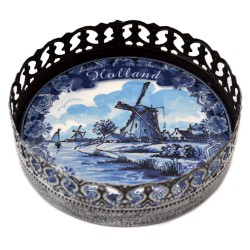 WINE COASTER HOLLAND DELFT BLUE WINDMILL LANDSCAPE