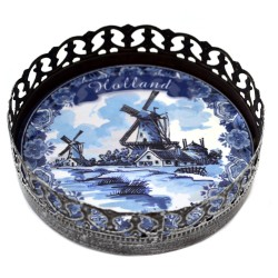 WINE COASTER HOLLAN DELFT BLUE WINDMILL STAND