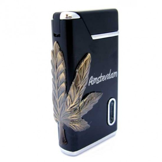 LIGHTER AMSTERDAM CANNABIS BLACK
