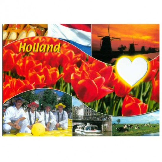 Postcard holland a6 cutout hart - st348