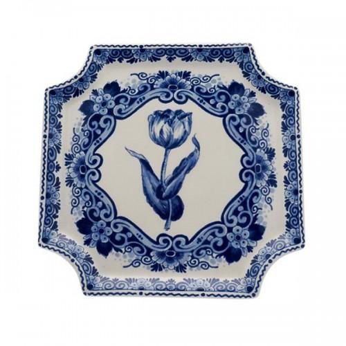 Applique Delft Blue Tulip Flower Border Square Wall
