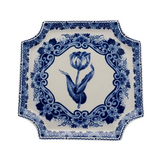 APPLIQUE DELFT BLUE TULIP FLOWER BORDER SQUARE