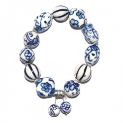 BRACELET DELFT BLUE BEADS CHARM DOUBLE BEAD