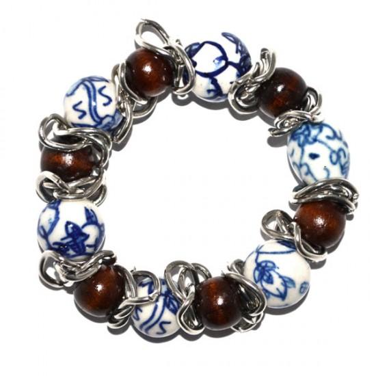 Armband delfts blauw kralen / houten kralen