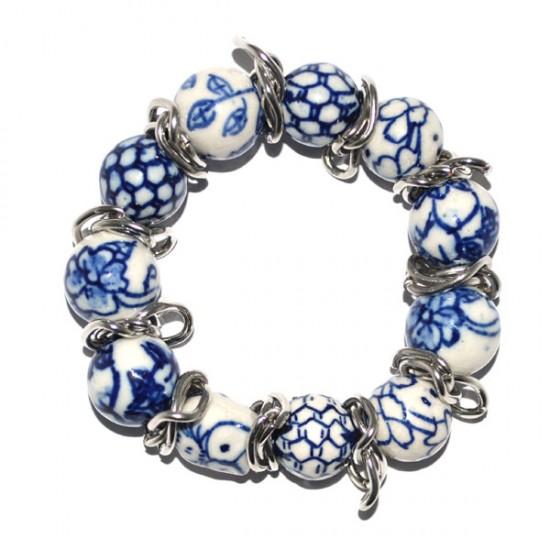 Armband delfts blauw kralen mb