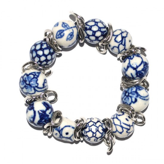 Bracelet delft blue beads mb