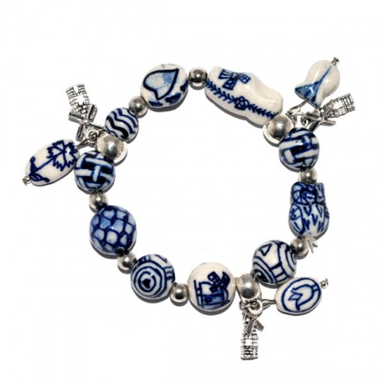 Bracelet delft blue beads windmill charms