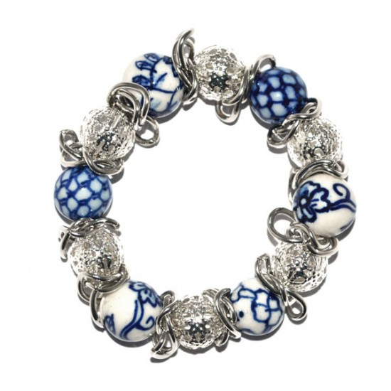Bracelet delft blue beads / open beads
