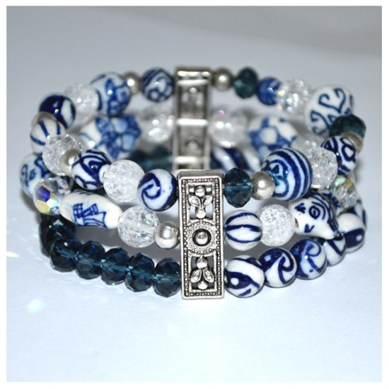 BRACELET DELFT BLUE BEADS TRIPLE