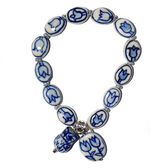 Bracelet delft blue beads tulips