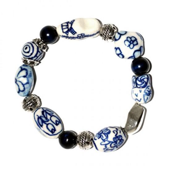 Bracelet delft blue beads tulip cloggie owl