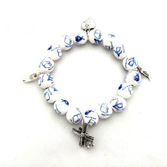 BRACELET DELFT BLUE BEADS CHARMS