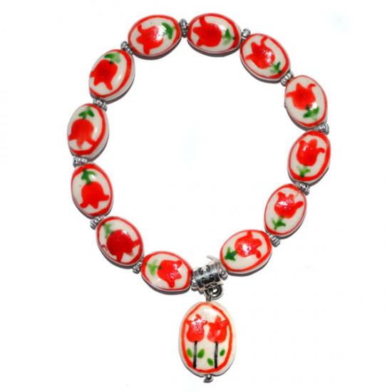 Armband delfts keramiek oranje rood tulpen