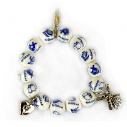 BRACELET KIDS DELFT BLUE BEADS CHARMS