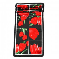 ARTIFICIAL SILK SCARF RED TULIPS BLACK TILE