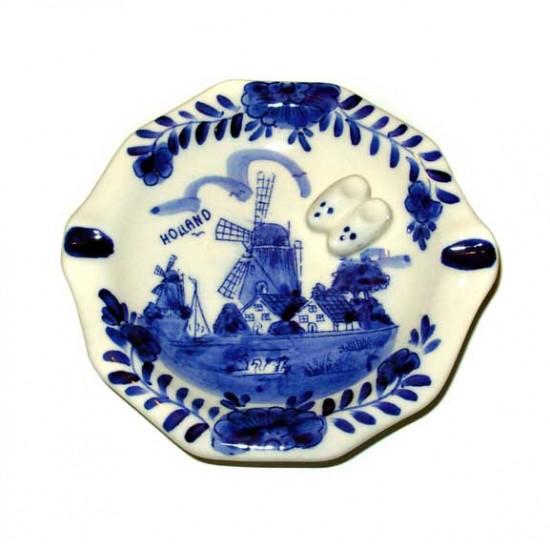 Asbak delfts blauw holland molen klompjes