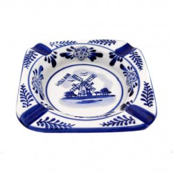 ASHTRAY SQUARE DELFT BLUE  10 X 10 CM