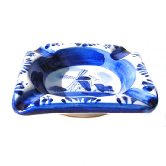 ASHTRAY SQUARE DELFT BLUE 7 X 7 CM