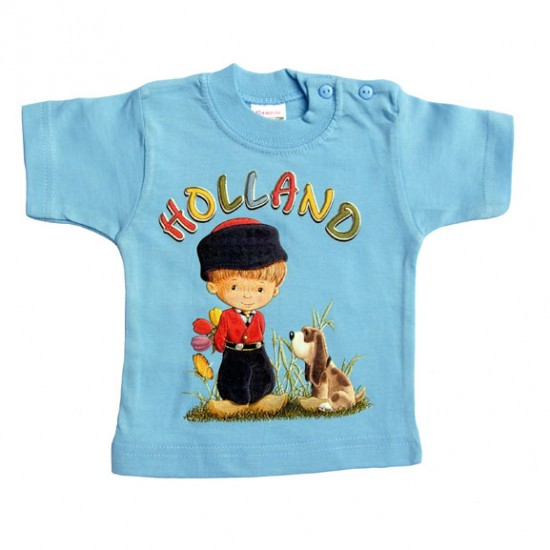 BABY / KIDS T-SHIRT BOY HOLLAND TULIPS DOGGIE SOFT BLUE