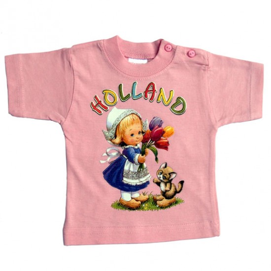 Baby / kinder t-shirt girls holland tulips cat pink