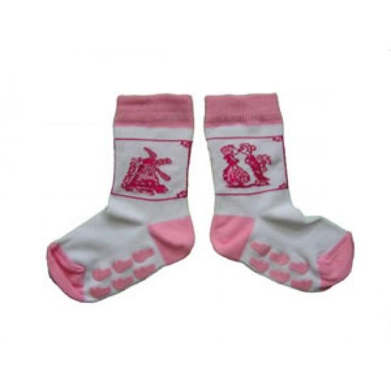 Baby socks delft pink print anti slip
