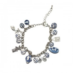 CHARM BRACELET DELFT BLUE BEADS ADJUSTABLE