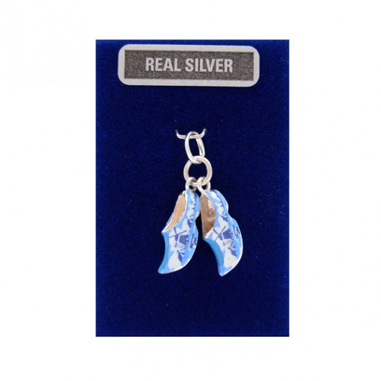 SILVER CHARMS 2 CLOGGIES BLUE MILL15 MM