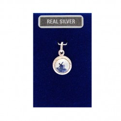 SILVER CHARM SPHERE DELFT BLUE STONE MILL 10 MM