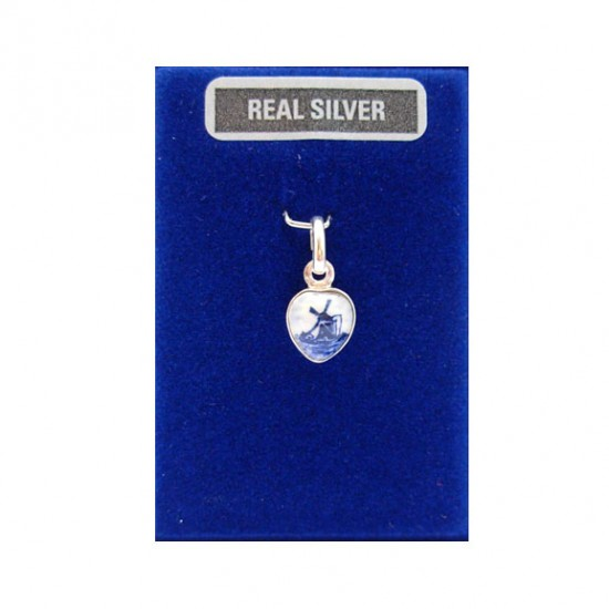 SILVER CHARM HEART DELFT BLUE STONE MILL 9 MM