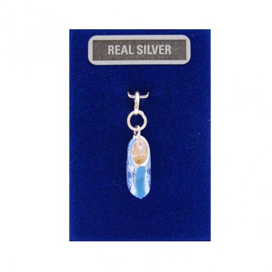 Bedel zilver klompje blauw molen 15 mm