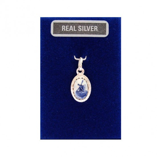 SILVER CHARM OVAL DELFT BLUE STONE MILL 12 MM