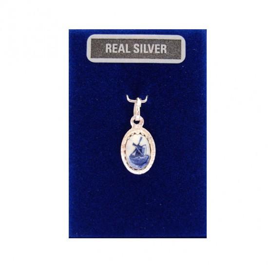 Bedel zilver ovaal delftsblauwe steen molen 12 mm