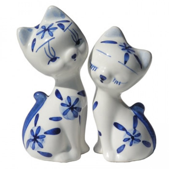 FIGURINE LOVE CATS SET DELFT BLUE 10 CM
