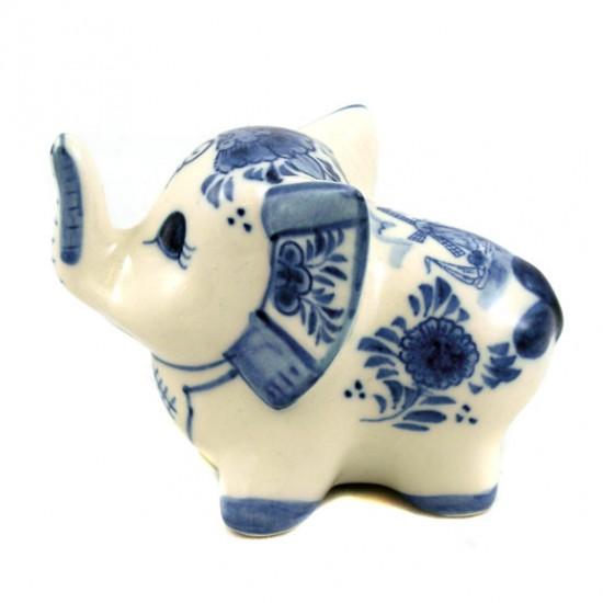 Beeldje olifant delfts blauw