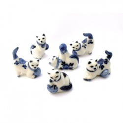 FIGURINES MINIATURE CATS DELFT BLUE