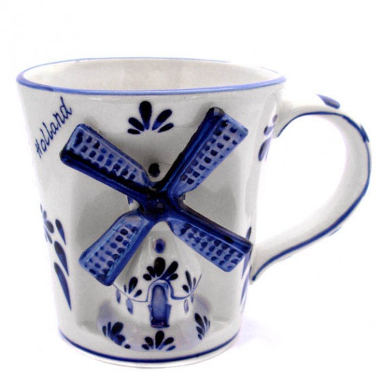 Mug delft blue windmill relief