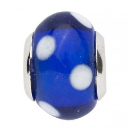 BIBA BEAD GLASS BLUE WITH WHITE DOTS