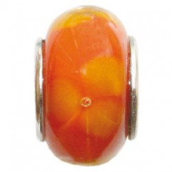 BIBA BEAD GLASS ORANGE WITH YELLOW DOTS