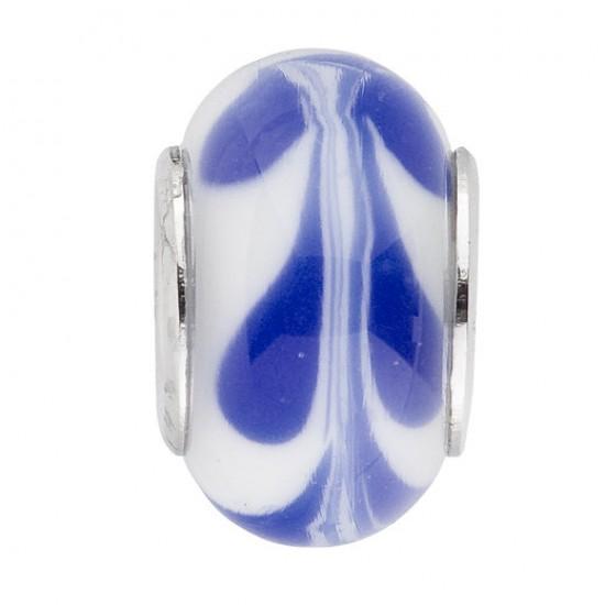 Biba bead glass white with blue