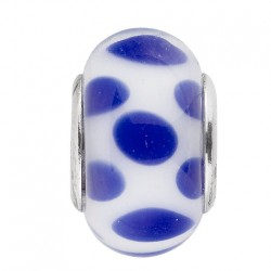 BIBA BEAD GLASS WHITE WITH BLUE DOTS