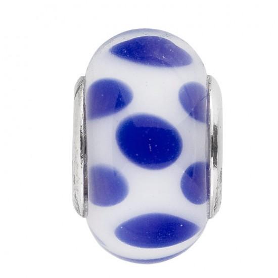 BIBA BEAD GLASS WHITE WITH BLUE DOTS