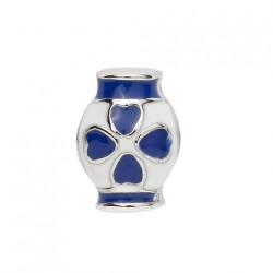 BIBA BEAD VASE WHITE WITH BLUE HEARTS