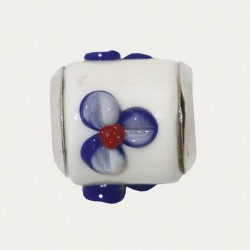 BIBA BEAD WHITE - BLUE FLOWER WITH RED DOT