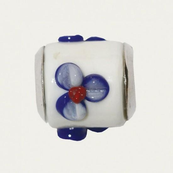 Biba bead white - blue flower with red dot