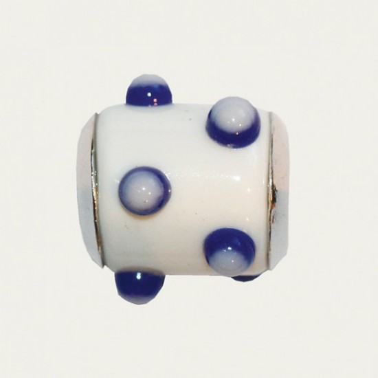 BIBA BEAD WHITE WITH BLAUE / WHITE TIPS