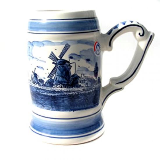 Beer mug delft blue  3/4 l windmill