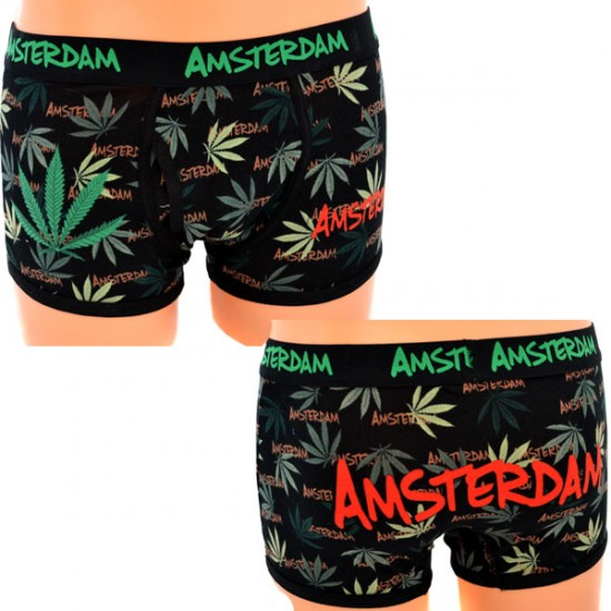 BOXER SHORT WEED AMSTERDAM BLACK