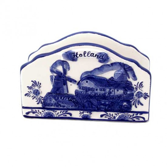 NAPKIN HOLDER / LETTER STAND DELFT BLUE RELIEF HOLLAND